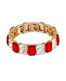 Gold-Tone Multi-Stone Stretch Bracelet