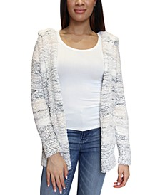 Juniors' Hooded Faux-Sherpa-Trim Cardigan