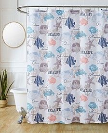 "Sutton Park Sea Life Printed 70"" x 72"" Shower Curtain, 13 Piece"
