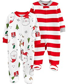 Baby Girls and Boys 2-Pack Christmas Sleep and Plays
