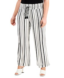 INC Plus Size Striped Crinkled Pull-On Pants, Created for Macy's