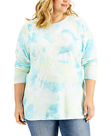 INC Plus Size Tie-Dyed Sweater, Created for Macy's