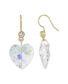 Women's Gold Tone Austrian Crystal Glass Heart Wire Earrings