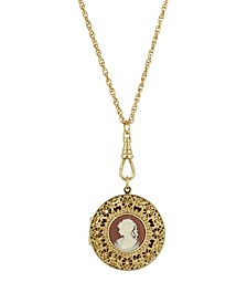 Women's 14K Gold Dipped Carnelian Cameo Round Filigree Locket Necklace