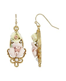 Women's Gold Tone Pink Yellow Porcelain Rose Flowers Drop Wire Earrings