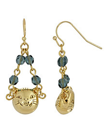 2028 Women's 14K Gold Dipped Cat Face with Blue Beaded Chain Drop Wire Earrings