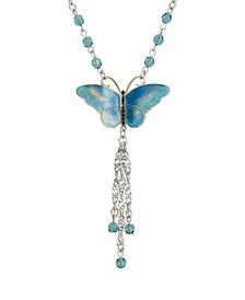 Women's Silver Tone Blue Enamel Blue Beads Butterfly Necklace