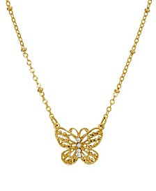 Women's Gold Tone Crystal Accent Petite Filigree Butterfly Pendant Necklace