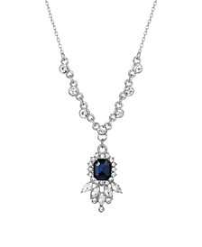 Women's Silver Tone Blue and Crystal Pendant Necklace