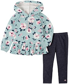 Little Girls Two-Piece Floral Print Hooded Fleece Tunic with Denim Legging Set