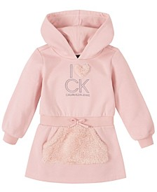 Toddler Girl Pink Fleece Hooded Dress
