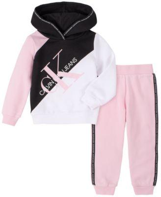 Little Girls Two-Piece Fleece Hood with Fleece Pants Set