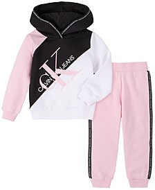 Little Girls Two-Piece Fleece Hood with Fleece Pants Set