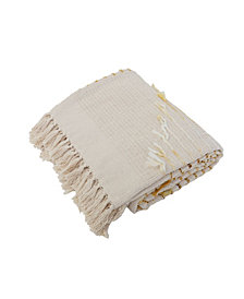 "Macey Embroidered Tassel Trim Decorative Throw, 60"" X 50"""