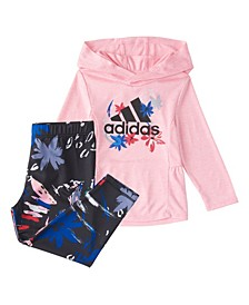 Toddler Girls Long Sleeve Melange 2-Piece Hooded Top and Printed Tight Set