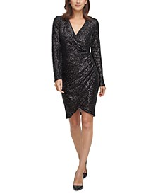 Sequin Side-Ruched Sheath Dress