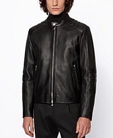 BOSS Men's Muba Regular-Fit Leather Jacket