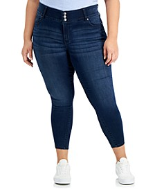 Trendy Plus Size Three-Button Skinny Ankle Jeans