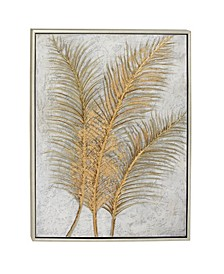 Glam Style Metallic Leaf Palm Fronds Acrylic Painting in Rectangular Metallic Wood Frame