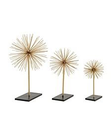 Tall Contemporary Style 3D Round Metal Starburst Sculptures On Stands, Set of 3
