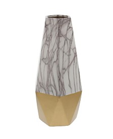 Large Contemporary Style Marble and Ceramic Vase with Geometric Silhouette
