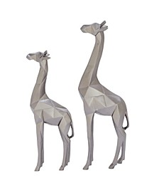 Large Modern Style Metallic Giraffe Statues Table Decor, Set of 2