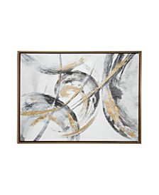 Large Metallic and Contemporary Abstract Art Painting in Metallic Wood Frame