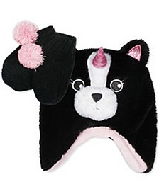 Toddler Girls Pugicorn Trapper and Mittens Set, 2 Piece Set