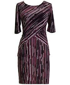 Petite Printed 3/4-Sleeve Sheath Dress