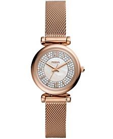 Women's Mini Carlie Rose Gold-Tone Mesh Bracelet Watch 28mm