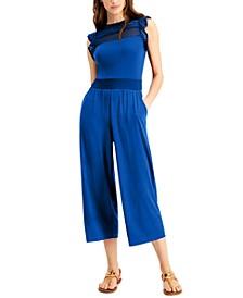 Mesh Cropped Flutter-Sleeve Jumpsuit, Regular & Petite Sizes