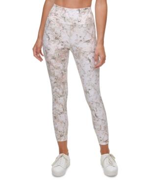 Calvin Klein Performance Printed High-waist Leggings In Crystallize Moonrock
