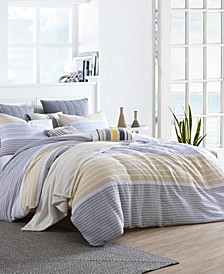 Delightful Cordelia Prewashed Yarn-Dyed Cotton Gauze Stripe 3 Piece Duvet Cover Set, Full/Queen