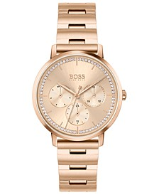 HUGO Women's Prima Carnation Gold-Tone Stainless Steel Bracelet Watch 35mm