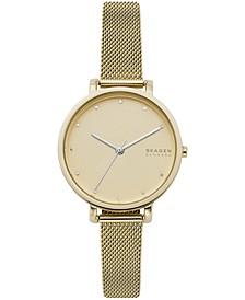 Women's Hagen Gold-Tone Stainless Steel Mesh Bracelet Watch 34mm