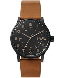 Men's Norre Brown Leather Strap Watch 42mm