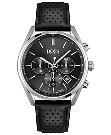 HUGO Men's Chronograph Champion Black Leather Strap Watch 44mm