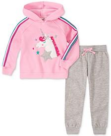 Baby Girls 2-Pc. Fleece Unicorn Hoodie & Jogger Pants Set
