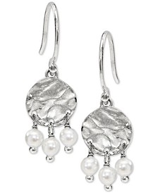 Hammered Disc & Shaky Imitation Pearl Drop Earrings