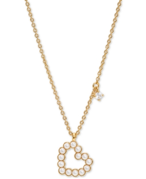Cubic Zirconia Charm & Imitation Pearl Open Heart Pendant Necklace