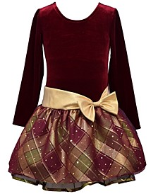 Little Girls Plaid Sparkle Overlay Dress