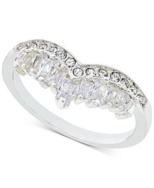 Silver-Tone Crystal Double-Row Chevron Ring, Created for Macy's