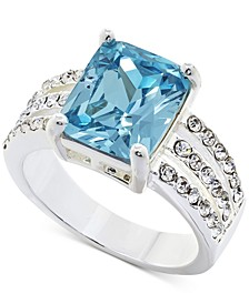 Fine Silver Plate Pavé & Square Crystal Triple-Row Ring, Created for Macy's