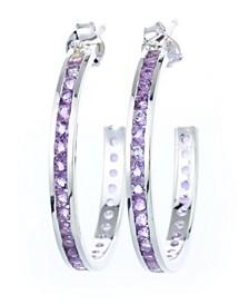 Semi Precious Birthstone Hoop Earrings in Sterling Silver