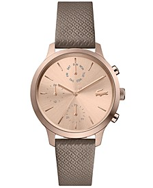 Women's Chronograph Taupe Leather Strap Watch 36mm