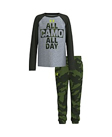 Little Boys All Camo All Day Tee and Camo Fleece Jogger Pants Set