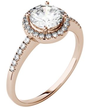 Moissanite Round Halo Ring (1-1/3 ct. t.w. Diamond Equivalent) in 14k Gold or White Gold or Rose Gold