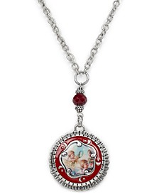 "Silver-Tone Cameo 30-1/8"" Locket Pendant Necklace"
