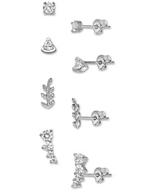 4-Pc. Set Cubic Zirconia Stud Earrings & Ear Climbers in Sterling Silver, Created for Macy's