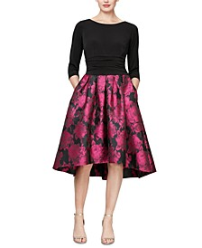 Printed-Skirt High-Low Dress
